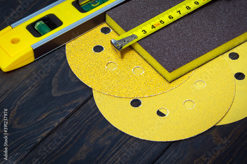 Set of abrasive tools and construction tape for cleaning or sanding various obje Canvas Print