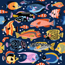 A Coral Fish Seamless Pattern With Exotic Tropical Underwater Animals. Background Of Coral Reef Life. Colorful Childish Vector Illustration. Wrapping, Notebooks, Labels, Accessories-school.