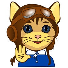 Emoji With Smiling Retro Airplane Pilot In A Vintage Flying Helmet With Headphones And Glasses Or Aviator Goggles, Simple Hand Drawn Emoticon, Cat Vector Illustration