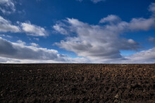 Empty Plowed Field And Sky. Ch...