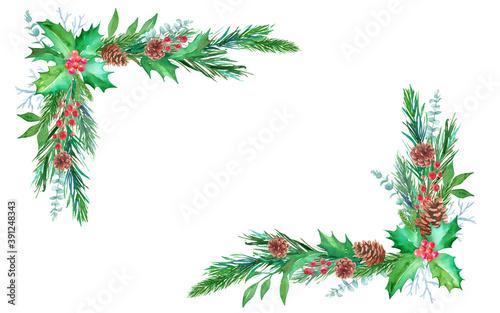 Obraz na plátne 松毬、もみの枝、西洋柊などのクリスマス装飾の水彩イラスト。2隅フレームデザイン。