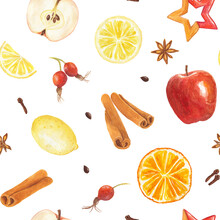 Watercolor Seamless Pattern With Hand Drawn Elements Lemon, Orange, Cinnamon Sticks, Apples, Rose Hips And Spices Isolated On White Background.