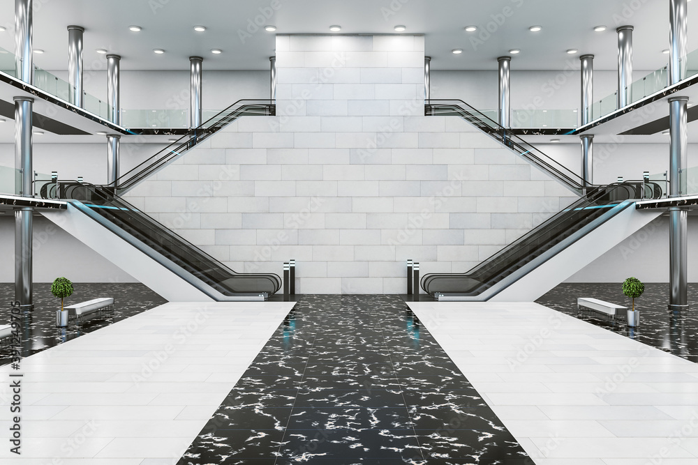 Fototapeta Modern train station interior with escalator.