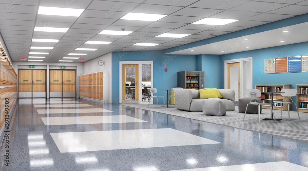 Fototapeta Long school corridor with orange lockers and rest zone, 3d illustration