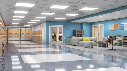 Fototapeta Long school corridor with orange lockers and rest zone, 3d illustration