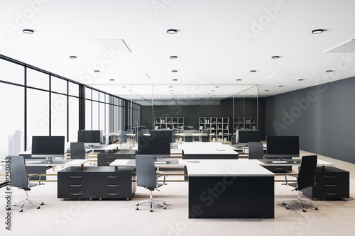 Obraz Modern office workspace with computers - fototapety do salonu