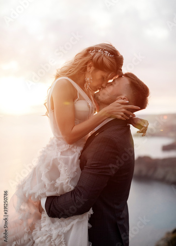 Photo portrait of a happy bride in luxury dress and groom, wedding love emotions