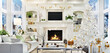 Leinwandbild Motiv Living room interior with christmas tree, fireplace, sofa and many gifts