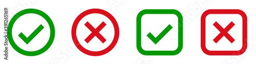 Fototapety, obrazy: Check mark and x set icon. Simple web buttons. Checkmarks and x or confirm. Round checkmark.