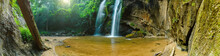 Panoramic Beautiful Deep Forest Waterfall In Chiang Mai Province At Thailand.