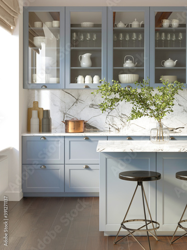Fototapeta 3d rendering of a light blue rustic country kitchen with white marble backsplash, an island and vintage stools, vertical closeup obraz