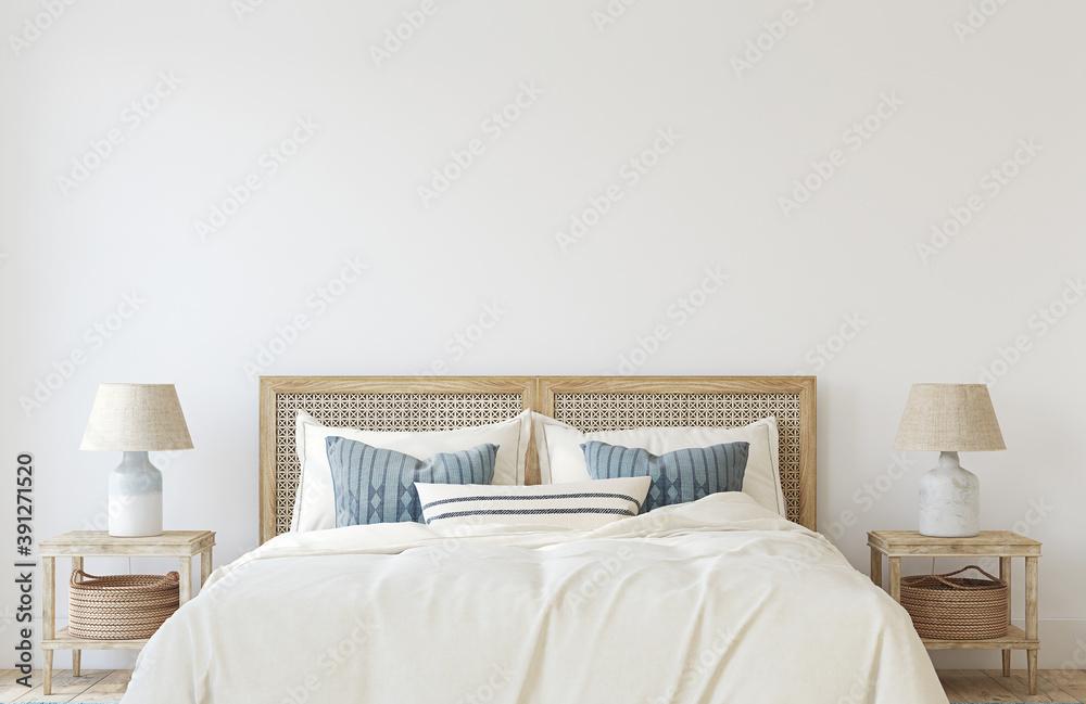 Fototapeta Coastal bedroom interior. 3d render.