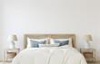 Leinwandbild Motiv Coastal bedroom interior. 3d render.