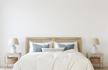 Panel Szklany Tenis Coastal bedroom interior. 3d render.