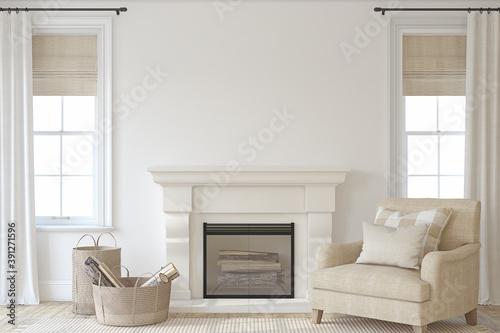 Fototapeta Interior with fireplace. 3d render. obraz