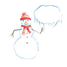 Watercolor Snowman With Empty Text Bauble