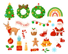 Christmas Kids Clipart - Santa Clause, Reindeer, Wreath, Bell, Sugar Candy Cane, New Year Decorations, Holly, Festive Rainbow, Christmas Tree, Gifts, Garland, Stocking - Vector Isolated Images