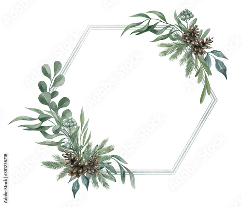 Fotografering Watercolor frame with winter plants and leaves in green color