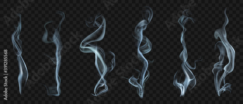 Set of several realistic transparent smoke or steam in white and gray colors, for use on dark background. Transparency only in vector format