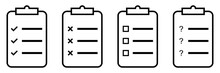Transparent Paper Clipboard Icons. Isolated Checklist Document. Checkmark Tick And Cross Sign. Square Clip Board With Empty Check Box And Question Mark. Office Notepad. Vector EPS 10.