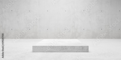 Empty modern abstract concrete room with elevated cubical platform in the center, product presentation template background