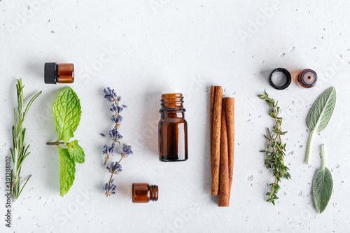 Fototapeta Ingredients for essential oils, floral and herbal sprigs