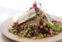 Close Up Of Barley And Mushroom Salad With Pea