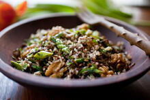 Close Up Of Wild And Brown Rice Salad With Asparagus And Walnuts