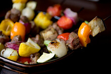 Close Up Of Lamb And Vegetables Kebab