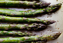 Overhead View Of Roasted Asparagus