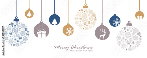 Fototapeta merry christmas card with hanging ball decoratoin vector illustration EPS10 obraz