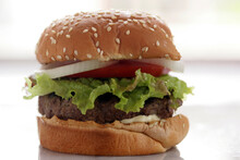 Close Up Of Hamburger With Let...