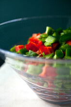 Close Up Of Red And Green Peppers