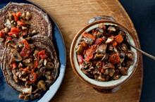 Overhead View Of Buckwheat Blini With Mushroom And Caviar