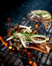 Steak And Vietnamese Noodles On Barbecue Grill