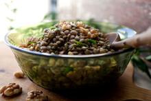 Close Up Of Lentil And Walnut Salad