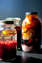 Close Up Of Jars With Alcohol ...