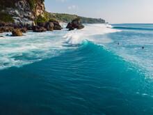 Barrel Blue Wave In Ocean And ...