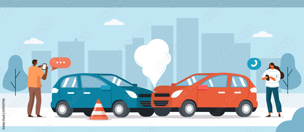 Fototapeta Drivers standing near Damaged Vehicles and Calling to Auto Insurance Companies or Recovery Service. Car Crash Accident on the Road Concept. Flat Cartoon Vector  Illustration.