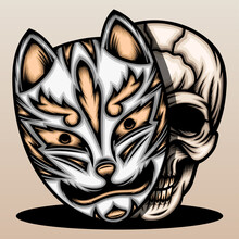 Skull With Japanese Fox Mask
