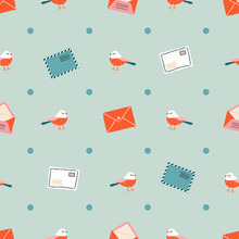 Romantic Christmas Mail Vintage Seamless Pattern. Trendy Hand-drawn Birds, Envelopes, And Polka-dot Pattern. Minimalistic Pastel Pattern For Gift Wrap, Stationery, Textiles, Posters, And Web Use.