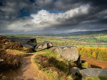 Rock Outcrops On Ilkley Moor. North Yorkshire