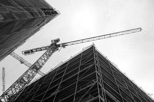 Construction site jib crane Fototapeta