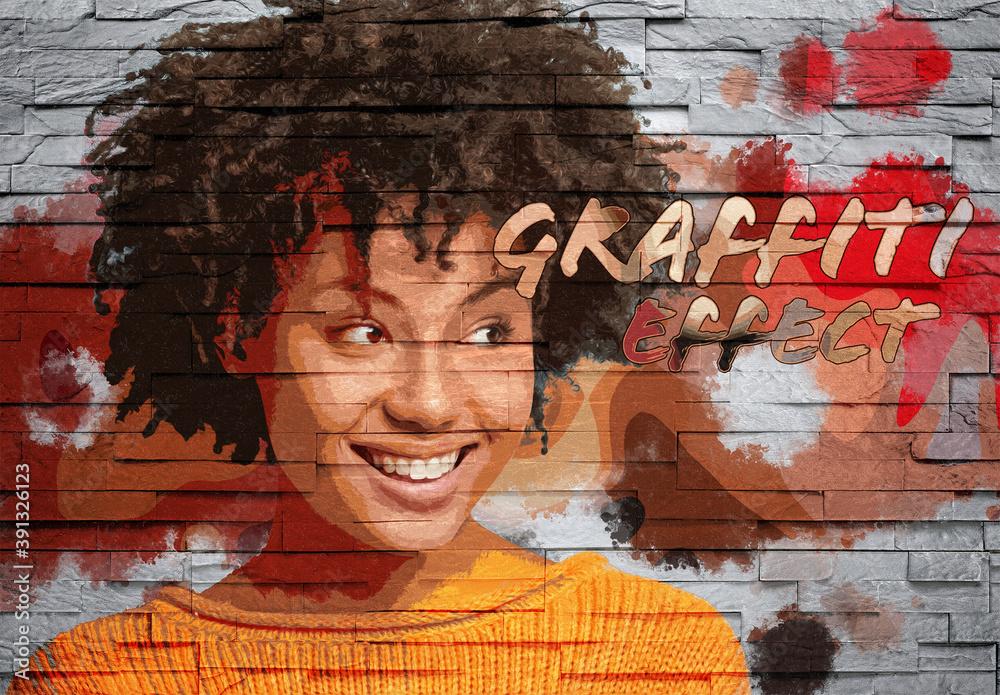 Fototapeta Graffiti Photo Effect on Brick Wall Texture Mockup