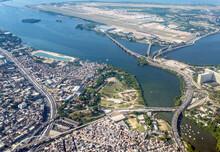 Aerial View Of Ramos Big Pool And Governador Island In Guanabara Bay, Rio De Janeiro City.
