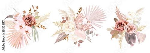 Billede på lærred Trendy dried palm leaves, blush pink and rust rose, pale protea