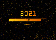 Progress Bar Of New Year's Eve With Golden And Spark Particles. Loading Animation Screen With Glitter Confetti Shows Almost Reaching 2021. Festive Background And Poster Concept Isolated