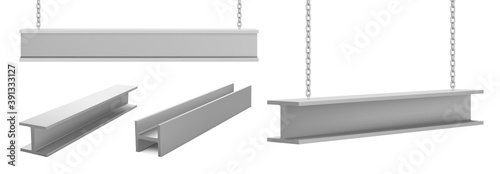Obraz Steel beams, straight metal industrial girder pieces hanging on chains for construction and building works crane lifting iron balks isolated on white background, realistic 3d vector illustration, set - fototapety do salonu