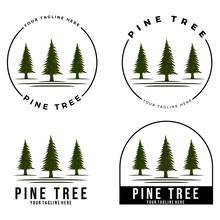 Pine Trees Logo Vector Illustration Design, River Colors