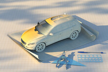 Miniature Car Prototype On Drafting Paper